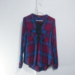 4 for $25 Express Plaid lace up shirt  Excellent